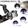 5 LED-es fejlámpa, újratölthető és vízálló kapcsoló, 4 LED-es világítási mód, 2×18650 Battery